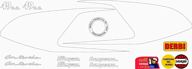 Kit de adhesivos motos clasicas DERBI ANTORCHA TRICAMPEONA m/áxima Calidad. Vinilo para Moto Juego Pegatinas Completo