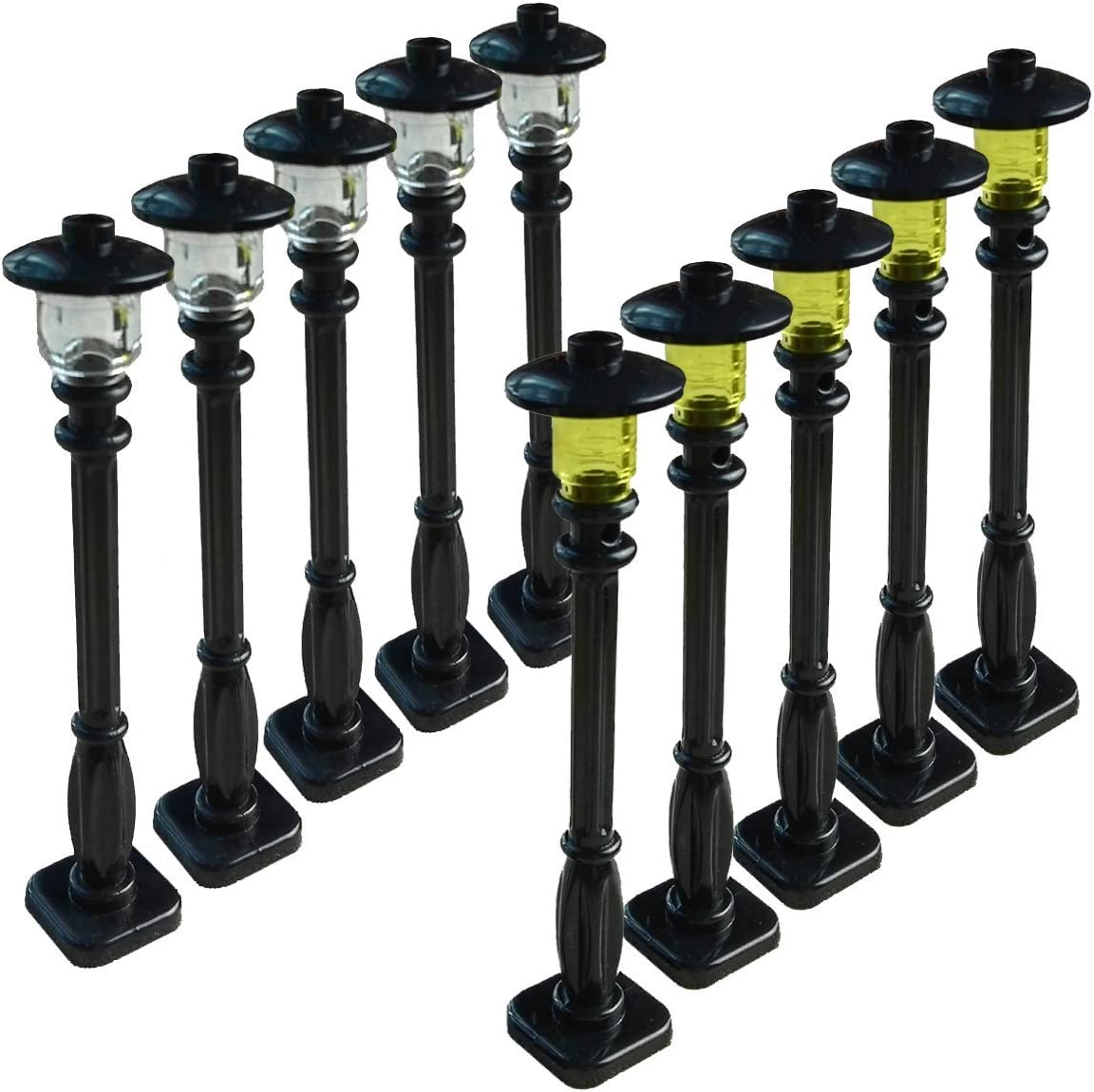 Black Post with Clear Bulb /& Black Cover Compatile with Major Brands Taken All Building Block Street Light Set of 10