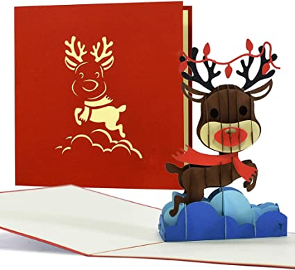 Carte de Noël humoristique avec renne en 3D Pop Up Carte de vœux
