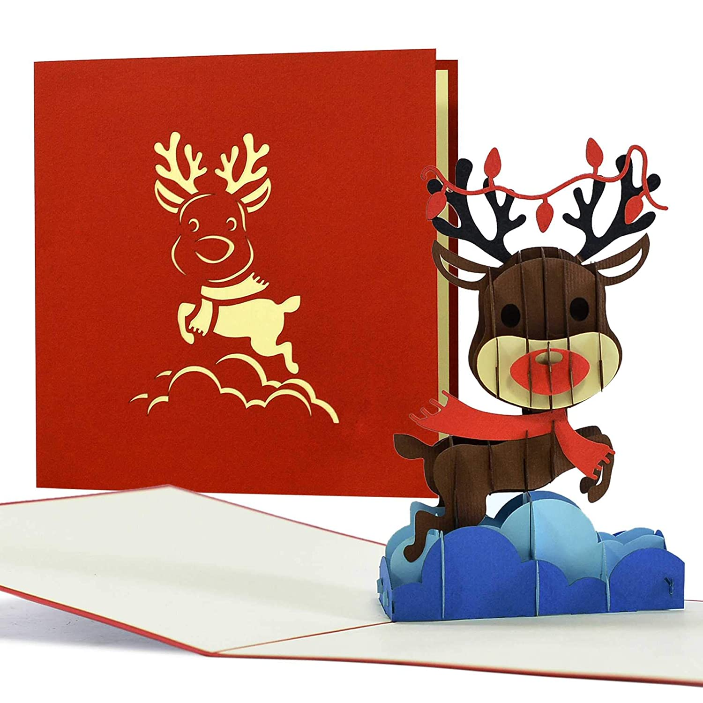 bonita tarjeta de felicitaci/ón un regalo de dinero Divertida tarjeta de Navidad con dise/ño de reno en 3D W33 por ejemplo dulce idea de regalo para