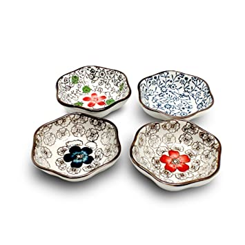 XIDUOBAO Set Of 4 Asian Style Sauce Dishes Plate Soy Sauce Dish Cream Soup Bowl And  sc 1 st  Amazon.com & Amazon.com: XIDUOBAO Set Of 4 Asian Style Sauce Dishes Plate Soy ...