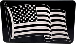 """product image for HMC Billet Waving American Flag Laser Engraved Trailer Hitch Cover - 4"""" x 6"""""""