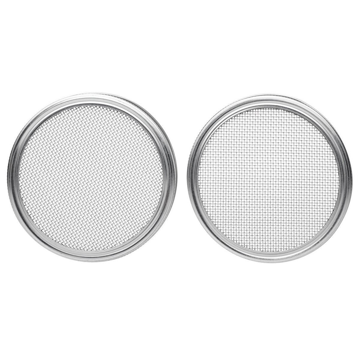 Nrpfell Stainless Steel Sprouting Lids for Wide Mouth Mason Jars - Strainer Lid for Canning Jars and Seed Sprouting Screen - 2pcs
