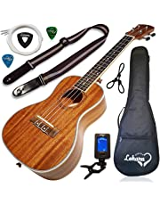 Ukulele Concert Size Bundle From Lohanu (LU-C) 2 Strap Pins Installed FREE Uke Strap Case Tuner 2 Picks Hanger Aquila Strings Installed Free Video Lessons BEST UKULELE BUNDLE DEAL Purchase Today!