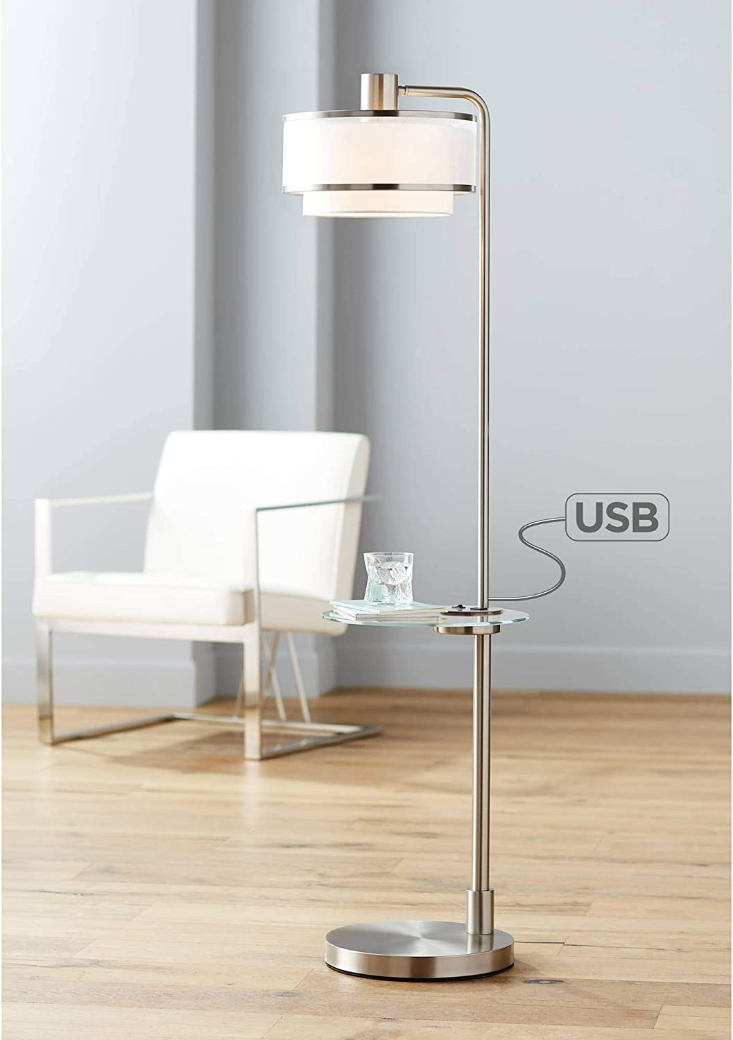 Vogue Modern Floor Lamp With Table Tempered Glass Brushed Nickel White Linen Silver Organza Double Drum Shade Usb Charging Port For Living Room Reading House Bedroom Home Office Possini Euro Design