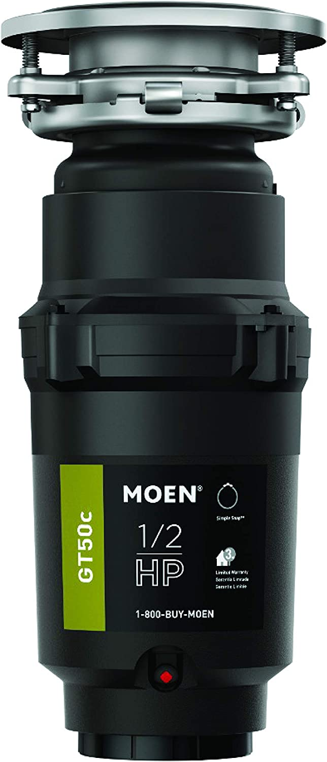 Moen GT50C 1/2 Horsepower Continuous Feed Garbage Disposal featuring Fast Track Technology, Power Cord Included