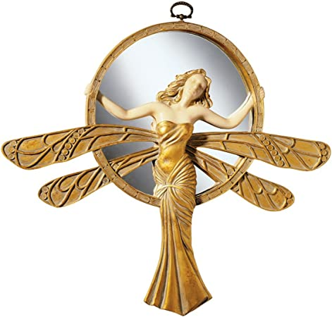 Design Toscano Dragonfly Art Deco Wall Mirror Sculpture 33 Cm Polyresin Gold And Ivory Amazon Co Uk Kitchen Home