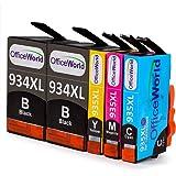 OfficeWorld Sostituzione per HP 934XL 935XL Cartucce d'inchiostro 934 935 Alta Capacità con Nuovi Chip per HP Officejet Pro 6830 6230 6820 6812 6815 6835 (2 Nero, 1 Ciano, 1 Magenta, 1 Giallo)