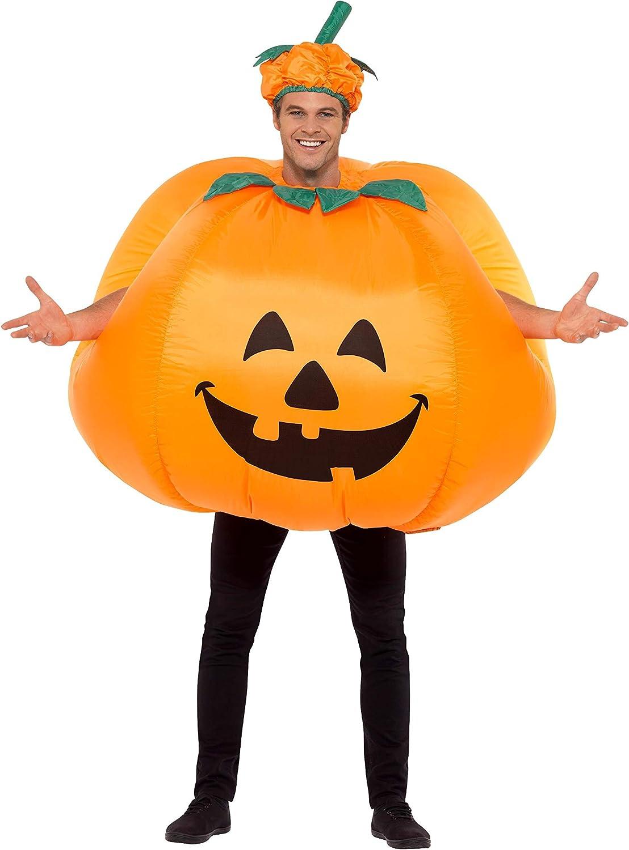 Smiffys-28694 Halloween Disfraz Hinchable de Calabaza, con inflador, Traje Entero y Sombrero, Color Naranja, Tamaño único (Smiffy'S 28694)