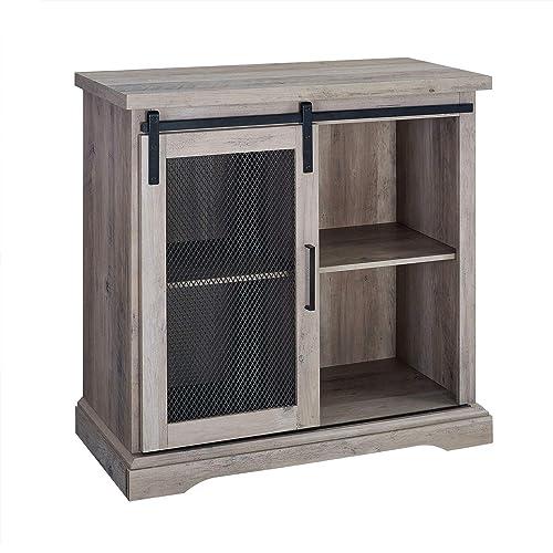 Walker Edison Furniture Company 32 Farmhouse Mesh Door Accent TV Stand – Grey Wash