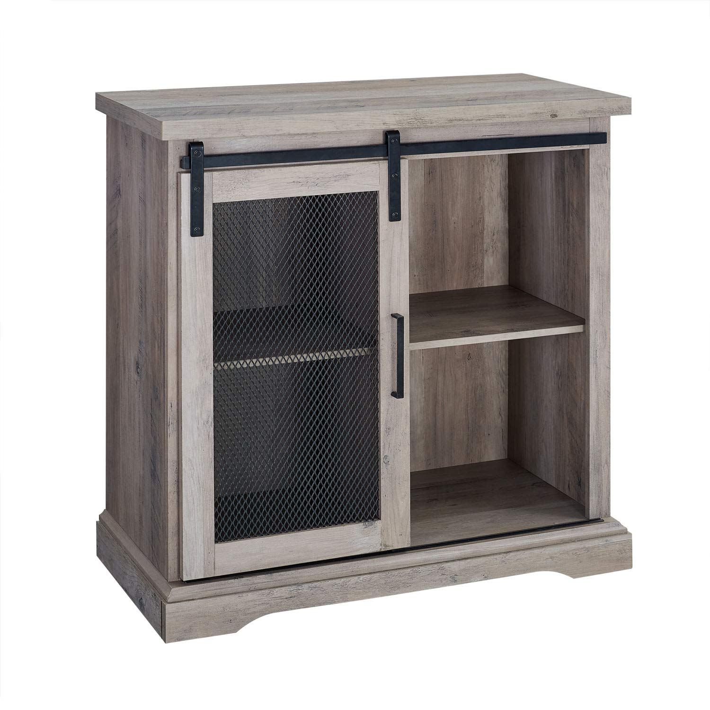 Offex 32'' Grey Wash Modern Farmhouse Buffet with Sliding Mesh Door