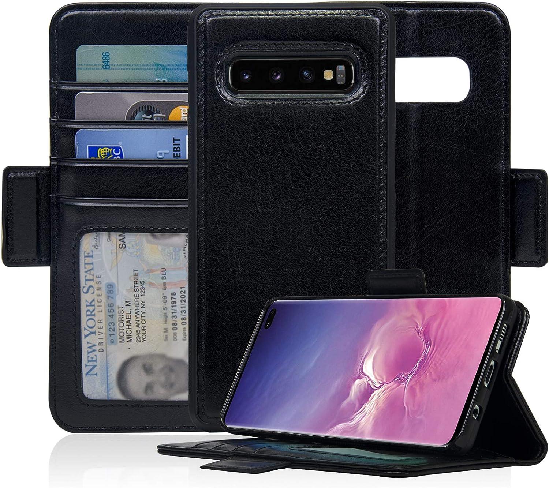 Navor Detachable Magnetic Wallet Case Compatible for Samsung Galaxy S10 Plus Black Vajio Series 6.4