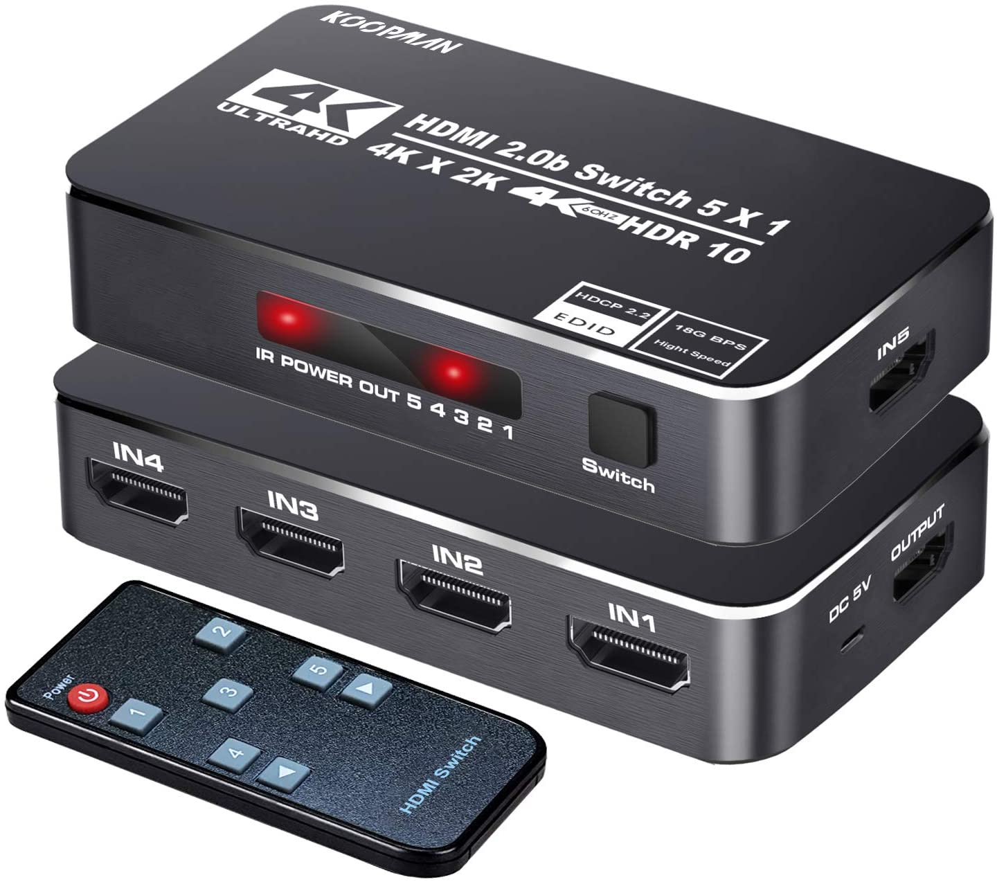 4K HDR HDMI Switch, Koopman 5 Ports 4K 60Hz HDMI 2.0 Switcher Selector with IR Remote, Supports Ultra HD Dolby Vision, High Speed (Max to 18.5Gbps), HDR10, HDCP 2.2 & 3D: Home Audio & Theater