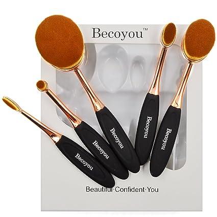 ad308d917 Brochas Maquillaje Ovaladas, Becoyou Set de Brochas de Maquillaje  Profesional para Contorno, Cara, Base, Blush, Rubor, ...