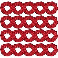 FASOTY 20 Pack Hair Scrunchies Red Velvet Elastics Scrunchy Bobbles Soft Hair Bands Hair Ties Red Scrunchies for Hair