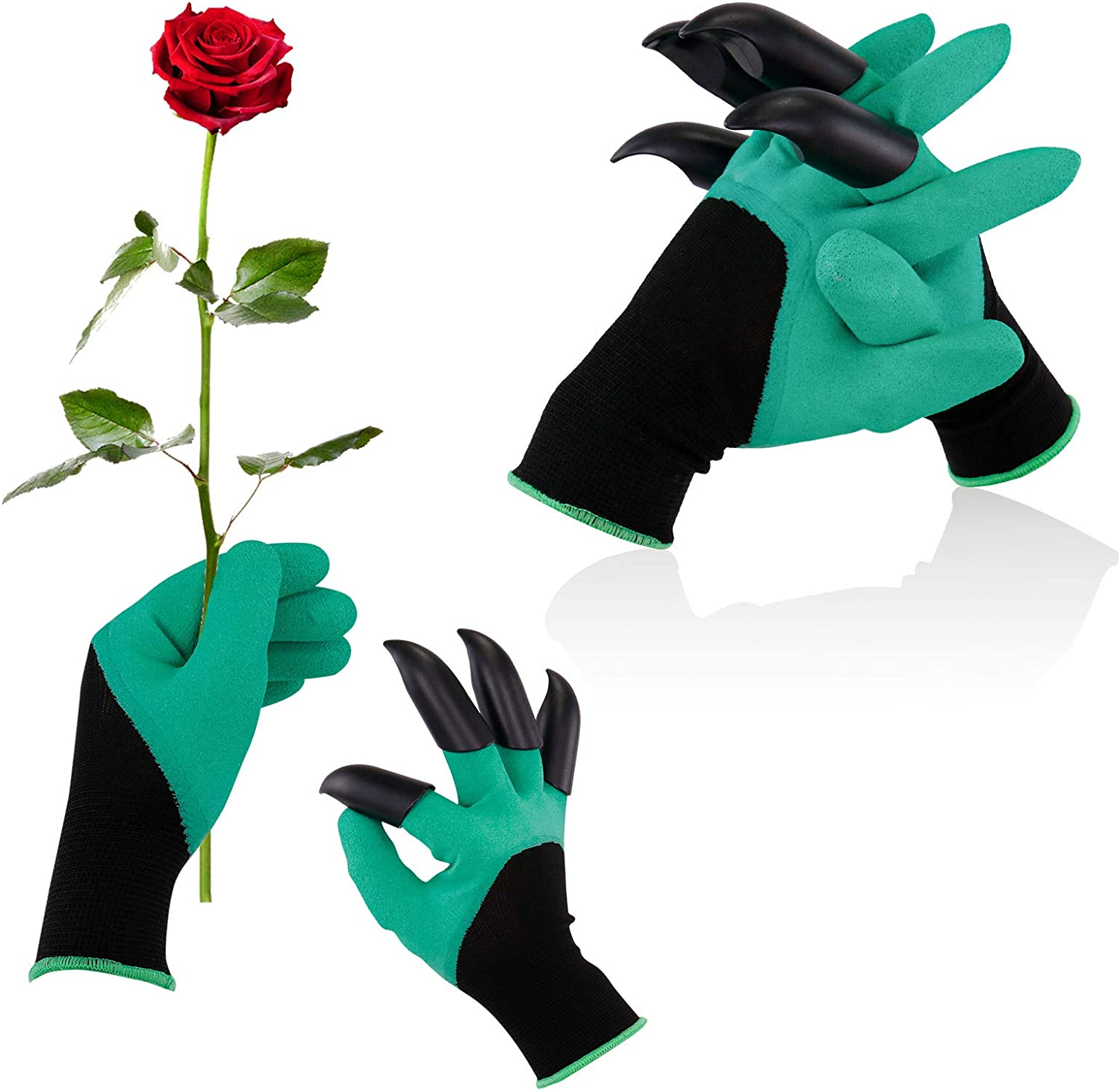 Garden Genie Gloves with Claws, Gardening Gloves2 Pairs for Digging and Planting Latex Coating Waterproof Breathable Outdoor Gardening Tools for Women and Men (Green)