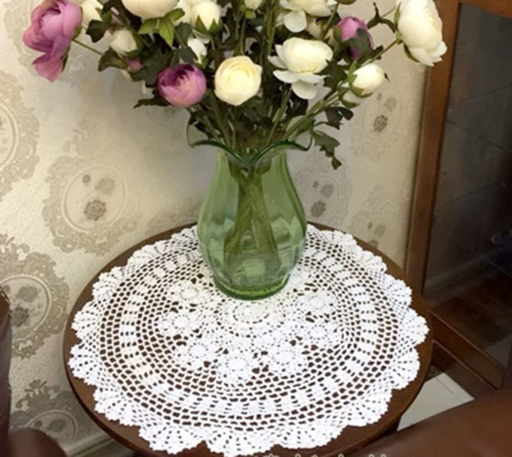 Laivigo New Handmade Crochet Cotton Lace Round Table Cloth Doilies Doily,22 Inch,White