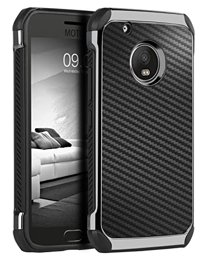 separation shoes a946a 1f57d Moto G5 Plus Case,Moto G Plus 5th Generation Case,BENTOBEN Shock Absorbing  Hybrid Hard PC Laminated Carbon Fiber Texture Chrome Shockproof Protective  ...
