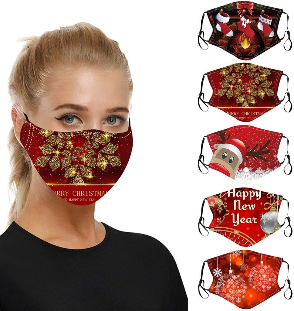 LANSKRLSP Adult Unisex Christmas Face Covering 3D Xmas Printing Reusable UK Breathable Bandanas Dustproof Mouth Cloth Outdoor Face Protective