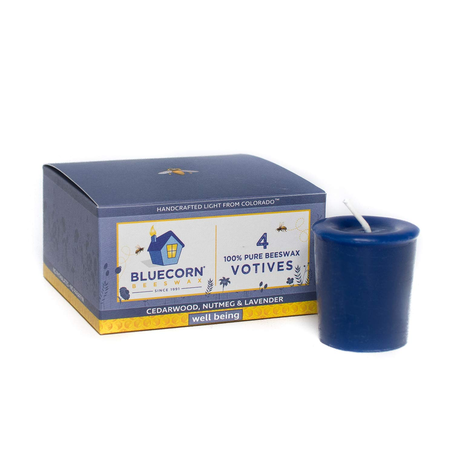 Well Being: Ylang Ylang, Cedarwood, Nutmeg /& Lavender Bluecorn Beeswax 100/% Pure Beeswax Aromatherapy Votives 4-Pack