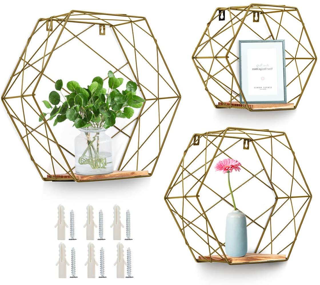 AGSIVO Wall Mounted Hexagonal Floating Shelves Farmhouse Storage Shelves for Wall,Bedroom, Living Room, Bathroom, Kitchen and Office Screws Anchors Included Set of 3 (Gold)