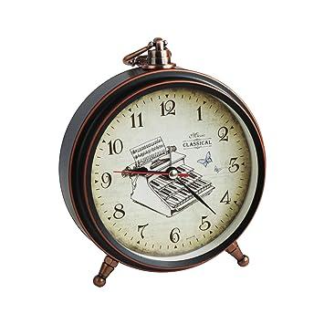 Emartbuy 5.5 Pulgadas Sin Tic TAC Mesilla de Noche/Mesa Reloj Despertador de Cuarzo, De Pilas Reloj de Viaje, Redondo y Despertador - Máquina de Escribir ...