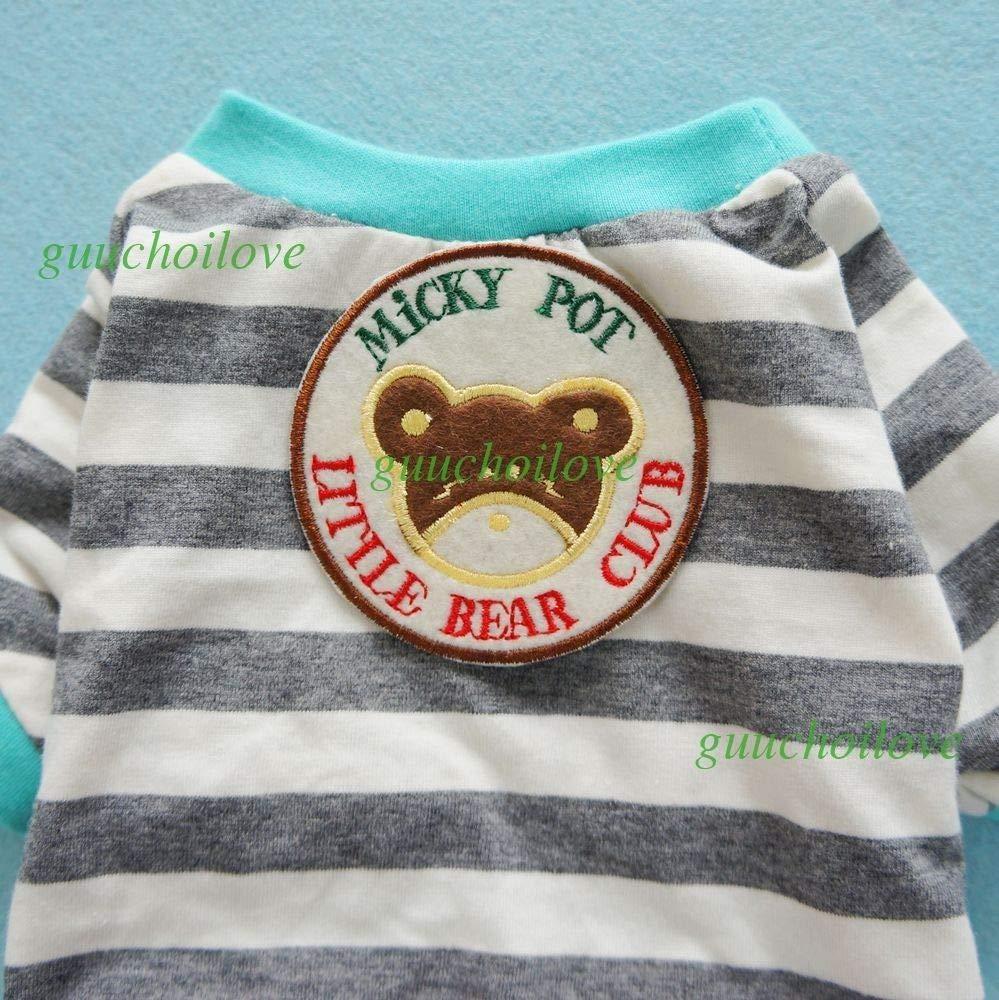 FidgetFidget Soft Cotton Dog Pajamas Duck Pet Clothes Pet Jumpsuit Cat Shirt Monkey L Chest18 Back14 Grey Stripes