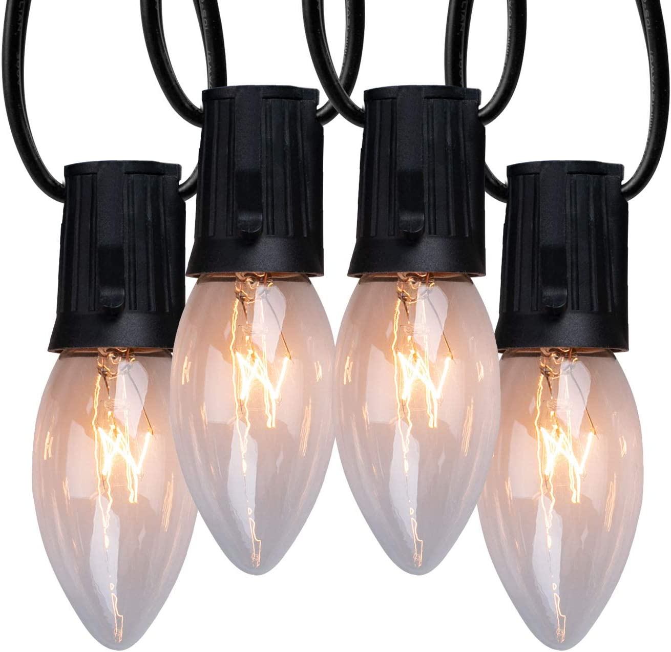 C9 Clear Christmas String Light Set, 50ft Vintage Christmas Tree Lights, Outdoor Roofline String Lights with 50 Clear Bulbs for Patio Garden Holiday Indoor Wedding Home Decorating, Black Wire