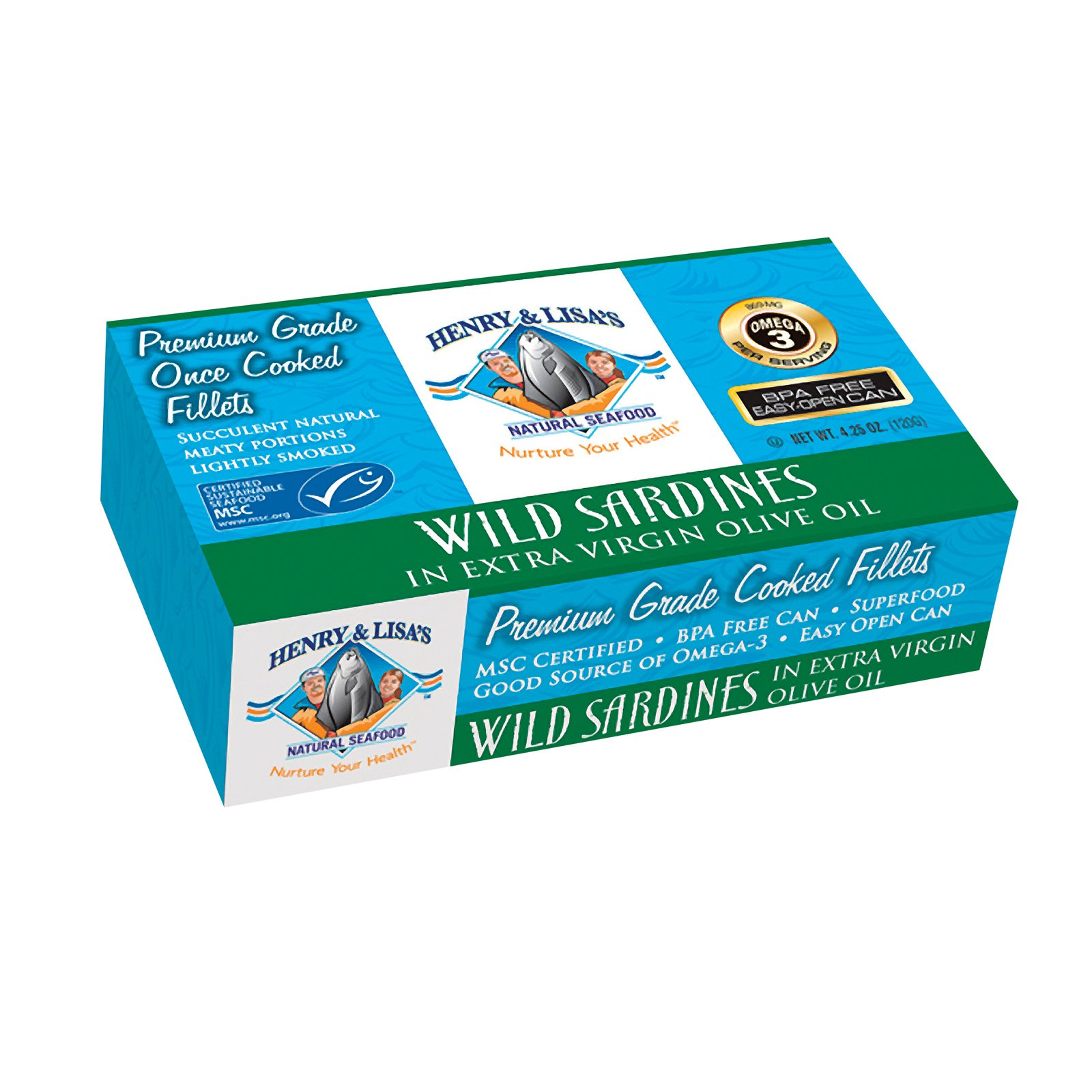 Henry and Lisas Natural Seafood Wild Sardines In Extra Virgin Olive Oil - Case of 12 - 4.25 oz.