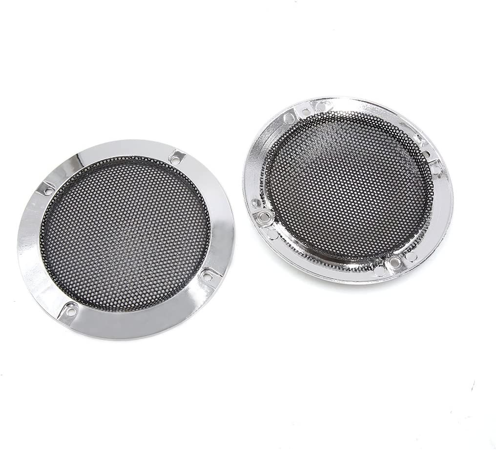 sourcingmap/® 2pcs 2.6 chromage Voiture Audio Subwoofer caisson protecteur grille Grill