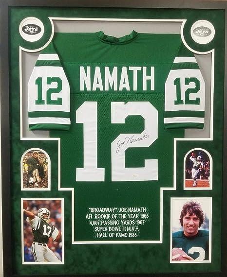 Joe Namath New York Jets Autograph Signed Custom Framed Stat Jersey Suede  Mat JSA Witnesed Certified 3d2222913