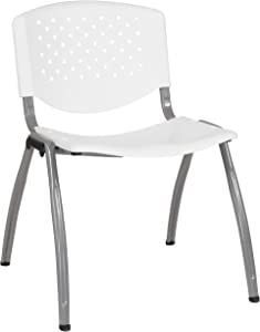 Flash Furniture HERCULES Series 880 lb. Capacity White Plastic Stack Chair with Titanium Gray Powder Coated Frame