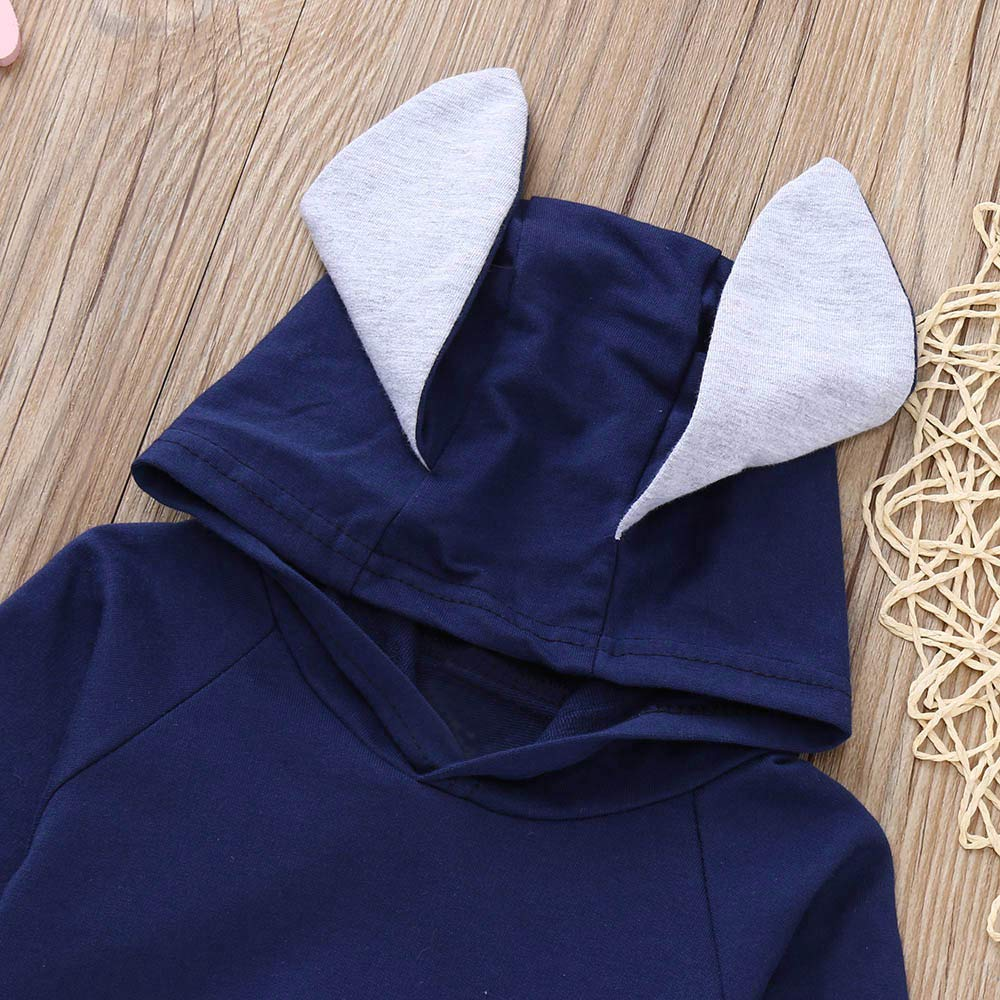 WARMSHOP 2PC Clothes Kids Baby Girls Solid Long Sleeve Cute Rabbit Ears Hooded Tops+Loose Casual Pants Outfits