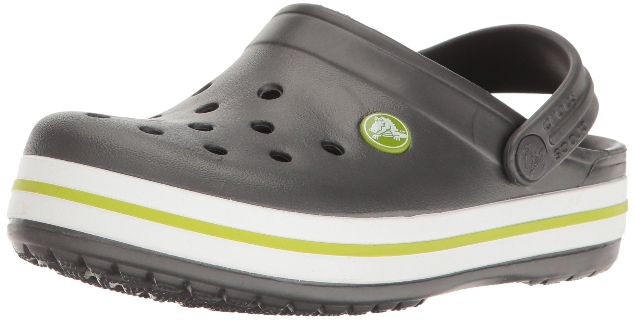 Crocs Kids' Crocband Clog, Graphite/Volt Green, 9 M US Toddler