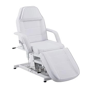 BARBERPUB Sillón reclinable eléctrico de belleza, para terapia, tumbona de masaje, asiento para tatuajes, equipo de belleza, Blanco, 1