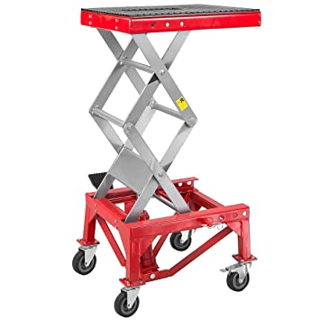 Miraculous Xtremepowerus 300Lbs Motorcycle Dirt Bike Atv Motorcycle Bike Scissor Jack Lifts Hoist Mini Crank Hydraulic Foot Operated Lift Red Short Links Chair Design For Home Short Linksinfo
