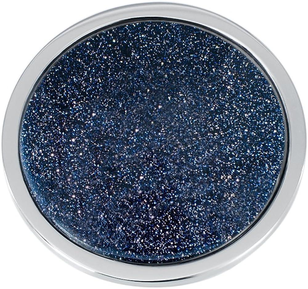 Quiges Acero Inoxidable Plateado Grande 33mm Moneda Polvo de Estrellas Azul Oscuro Ojo de Gato para Collar Colgante Intercambiable