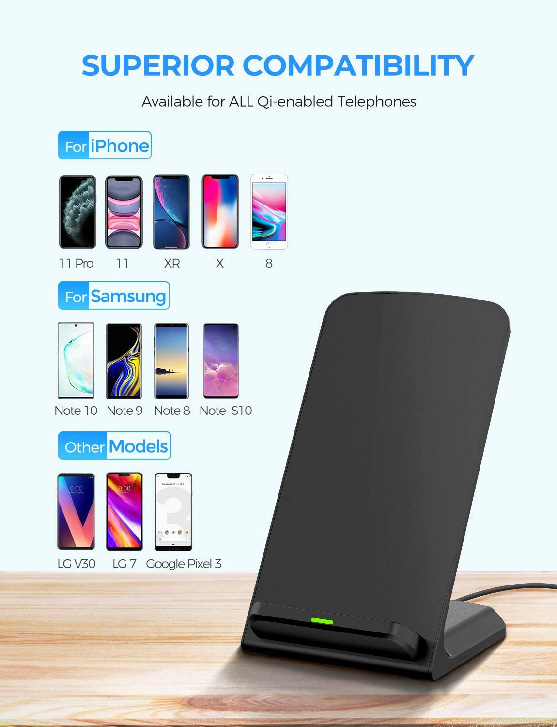 with 2A Adapter Galaxy S10//S10+//Note10//S9//S9+//Note9//S8//S8+ and All QI-Enabled Devices Qi Wireless Charging Stand Compatible with iPhone 11//Pro Max//Xs Max//Xs//XR//X//8//8 Plus ELLESYE Wireless Charger