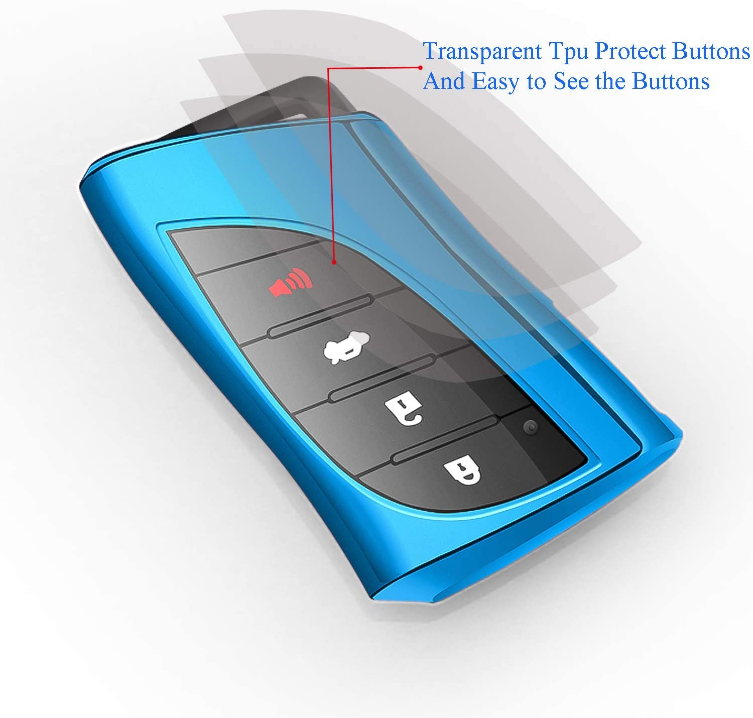 Autophone for Lexus Key fob Cover with Keychain Soft TPU 360 Degree Protection Key Case Compatible with 2018 2019 2020 Lexus UX200 LS500 LS500H LC500 LC500h ES300h ES350 Smart Key Blue