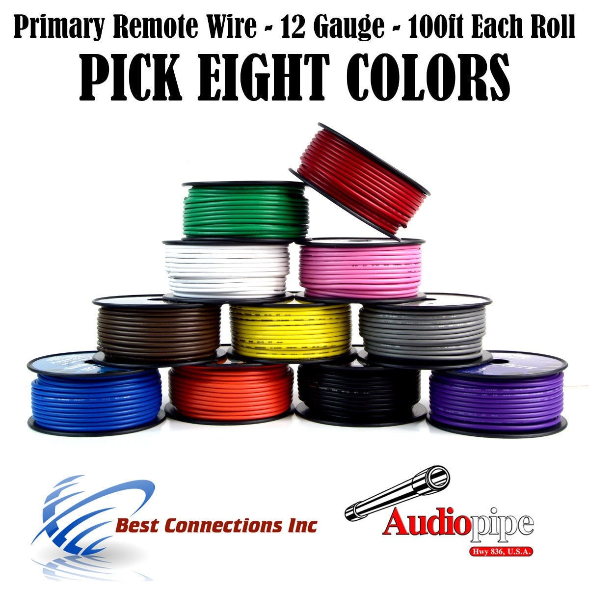 12 GA PRIMARY POWER GROUND WIRE (8) 100FT ROLLS BOAT CAR 12- 80 VOLT MULTI COLOR by Audiopipe / Best Connections