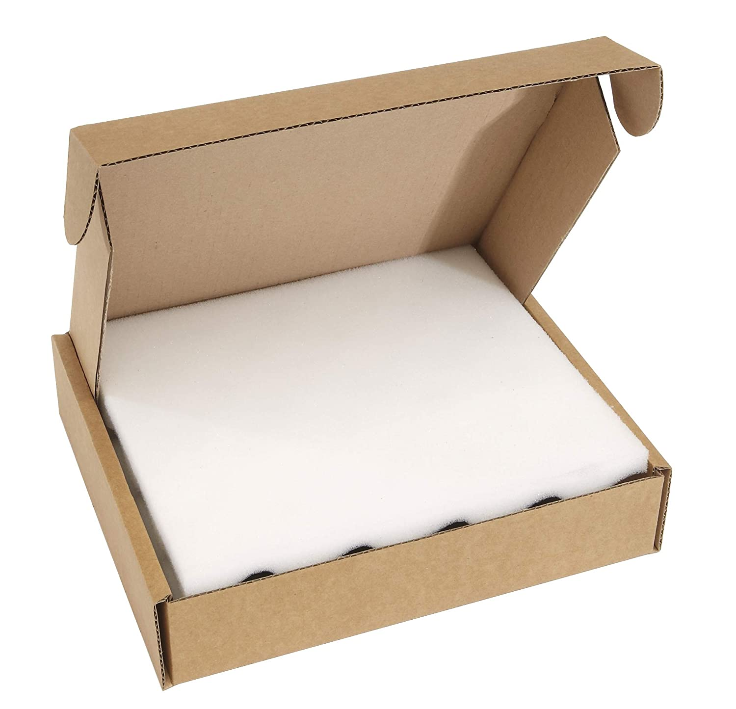 150L x 120W x 50H mm Pack of 25 Brown Cardboard and Foam Postal Boxes 25mm Thick Foam