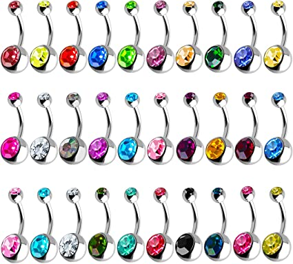 Amazon Com Outee 30 Pcs 14g Belly Button Rings Belly Rings For