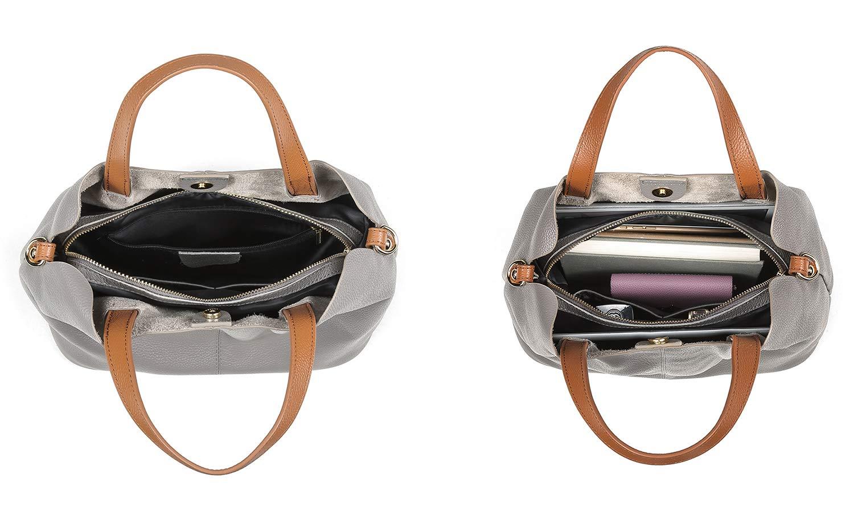Molodo Womens Satchel Hobo Top Handle Tote Geuine Leather Handbag Shoulder Purse,Black,Large by Molodo (Image #6)