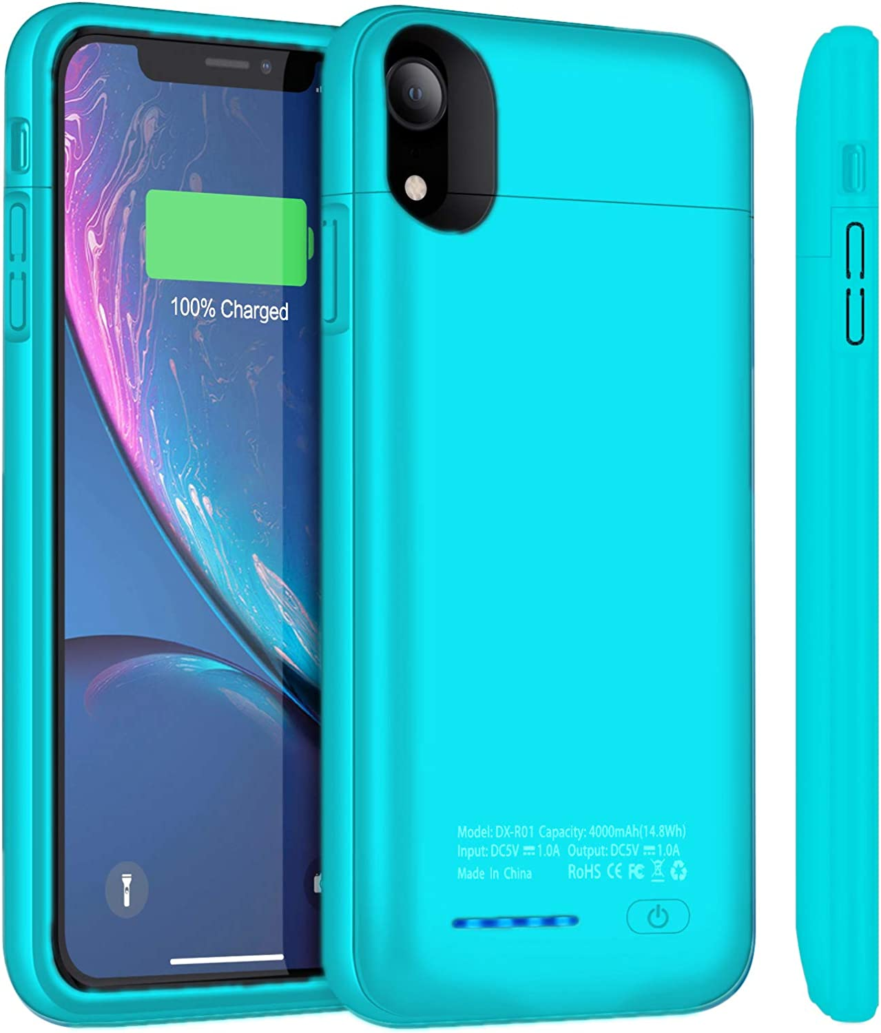 Battery Case for iPhone XR 4000mAh Ultra-Slim Portable Protective Charging Case Compatible for iPhone XR(6.1 inch) Magnetic Battery Case Rechargeable Charger Case(Blue)