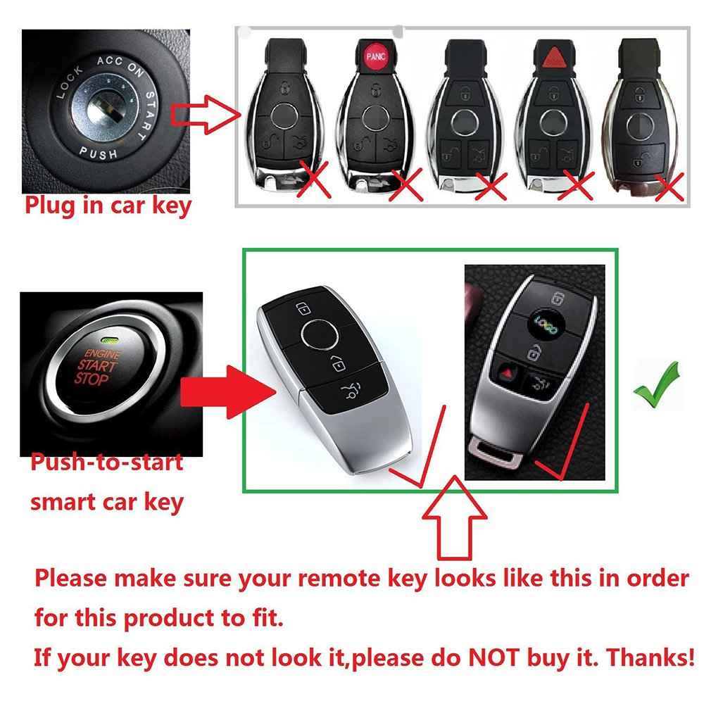 First2savvv Alumium Hard Plastic Keyless Remote Key Fob Flip Key Protection Case Cover Side Blades For Mercedes-Benz E Class with cleaning cloth CAR-Benz-E-16G11 Car Electronics & Accessories