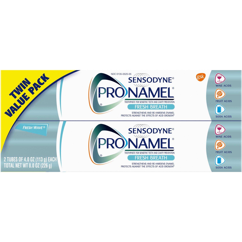 PRONAMEL Sensodyne Fresh Breath Enamel Toothpaste for Sensitive Teeth, to Reharden and Strengthen Enamel, Fresh Wave - 8 Ounces (Pack of 2)
