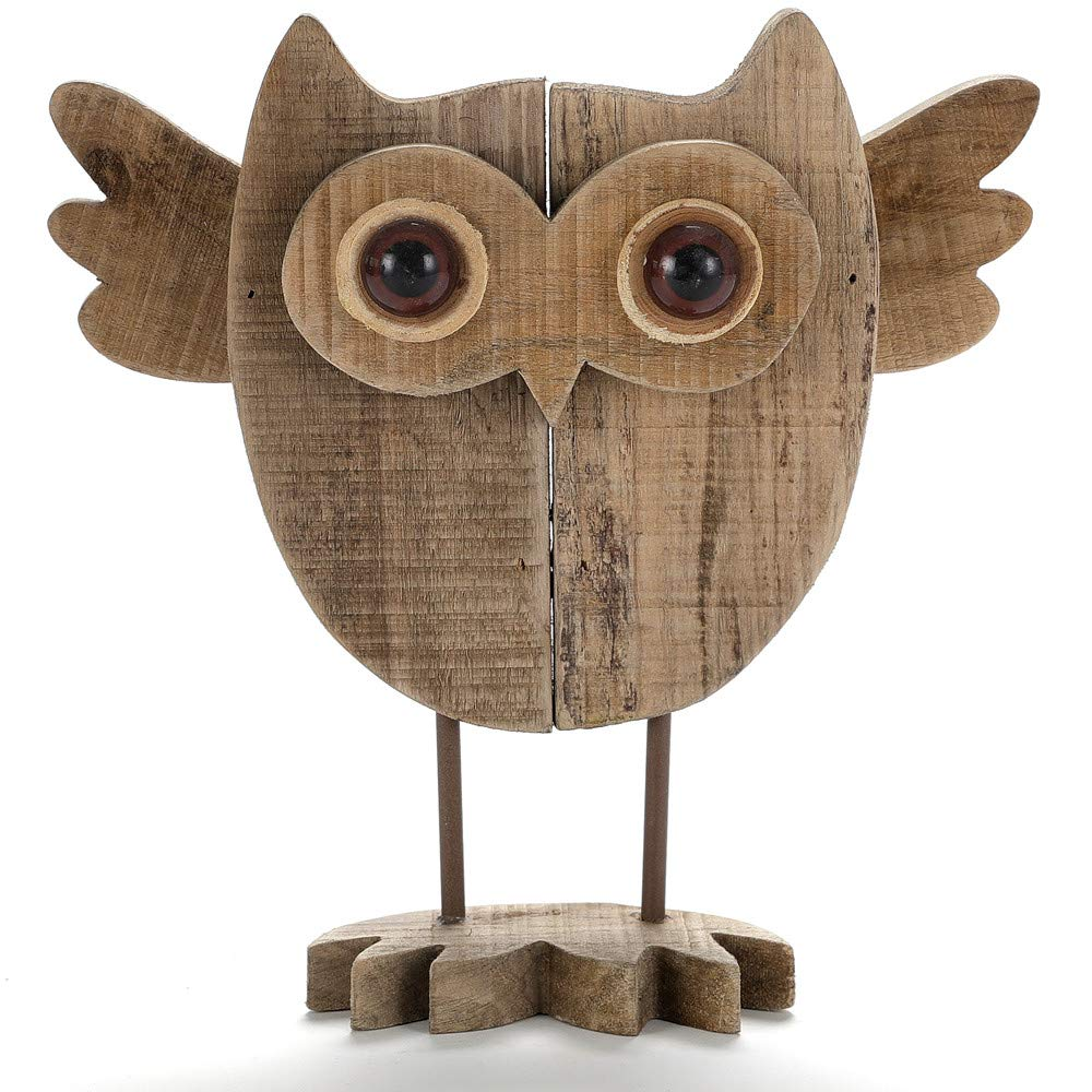 Byher 10 Inch Vintage Crafted Art Owl Statue (Wood) Animal Figurines for Home Decor, Living Room Bedroom Office Decoration