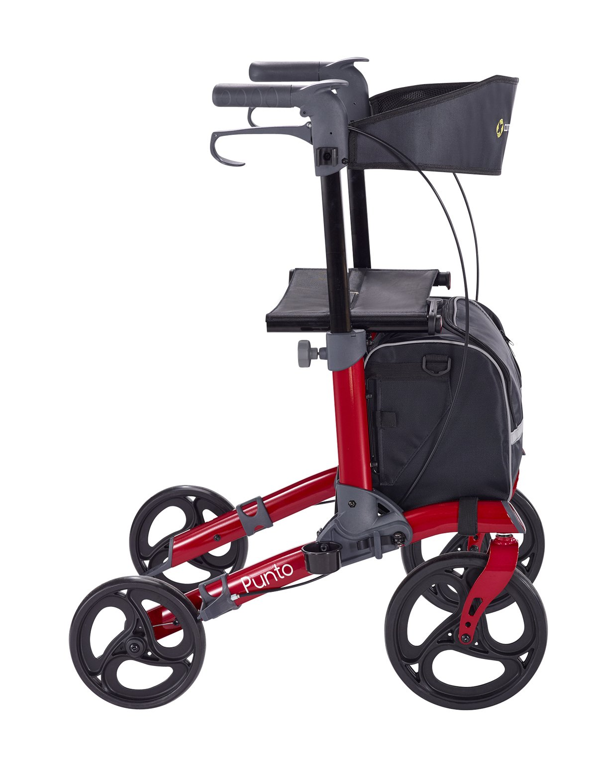 Comodità Punto Compact Rollator with Double Fold Action and Extra Large 10'' Front Wheels (Metallic Red)