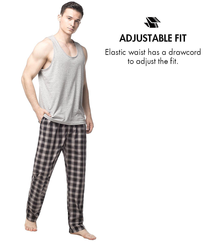 LAPASA Mens 100/% Cotton Woven Pajama Lounge Sleep Pants Plaid PJ Bottoms w Pocket and Drawstring M38