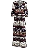 Xanthedoris boho paisley imprimir sexy dress botão dividir maxi dress causal outono das mulheres do vintage